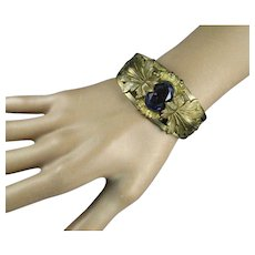 Vintage Czech Purple Glass Clamper Bracelet