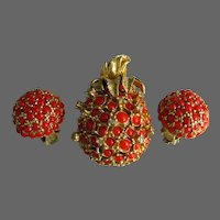 Alice Caviness Faux Coral Clear Rhinestones Pineapple Brooch & Earring Set