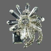 Miriam Haskell Clear Prism Clear Rhinestone Silver Plated Filigree Brooch