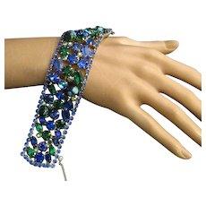 Vintage WEISS Emerald Green Sapphire Blue Glass Rhinestone Hand Painted Beads Wide Bracelet