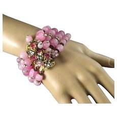 DeMario Romantic Pink Art Glass Pink Rhinestones Four Strand Elaborate Bracelet