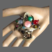 Sterling Silver Fruit Basket Moonglow Glass Stones Multi-Colored Rhinestones Brooch