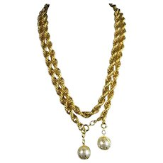 Vintage Gold Tone Twist Heavy 42 Inch Chain with Two Large Faux Pearls attached