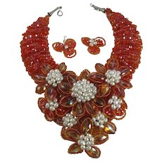 Huge Museum Quality Orange Crystal and White Freshwater Pearl Bib Statement Necklace and Matching Earrings