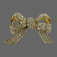 Vintage Boucher Gold Tone Clear Pave Rhinestone Ribbon Bow Brooch