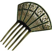 Vintage Art Deco Celluloid and Emerald Green Rhinestone Fan Shaped Hair Ornament Comb