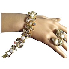 Vintage White Mabe' Pearl and Clear Rhinestone Bracelet and Earring Set