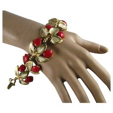Vintage Wide Schiaparelli Red Cabochon Bright Gold Plated Leaves Bracelet