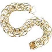 14K Solid Yellow Gold Quad Link Bracelet Charm Bracelet|22.7 Grams