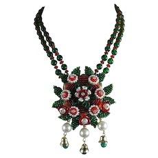 Vintage Stanley Hagler Ian St. Gielar Red Emerald Green Glass Christmas Necklace