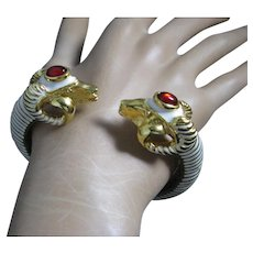 Kenneth Jay Lane Ram's Head White Enamel Red Cabochons Cuff Bracelet