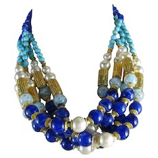 Vintage Ellelle Italian Glass Beaded Multi-Strand Necklace Cobalt Marbled Turquoise Color Faux Pearls