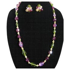 "Vintage Hattie Carnegie Pink and Green 28"" Single Strand Glass Beaded Necklace and Matching Earrings"
