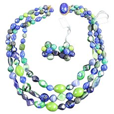 Hattie Carnegie Three Strand Blues Greens Art Glass Foil Glass Beads Necklace and Matching Earrings with Original Paper Tags