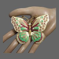 Vintage Kenneth Jay Lane Large Butterfly Brooch Enameling and Aurora Borealis Rhinestones