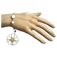 Vintage Milk Glass Charm Bracelet with Large Dangling Double Sided Flower Charm