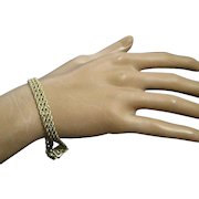 Vintage 14K Yellow Gold 8-MM Three Twist Rope Chain Box Clasp Bracelet| 7.5 Grams