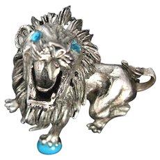 Ferocious Signed Hattie Carnegie Large Roaring Lion Brooch