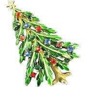 Fabulous Signed ART Green Enameled Multi-Colored Rhinestone Christmas Tree Brooch