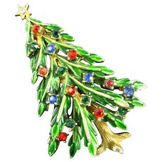 Fabulous Signed ART Green Enameled Multi-Colored Rhinestone Christmas Tree Brooch