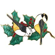 Vintage Signed Fine Enamel Holly Leaves and Berries with two Birds Pin