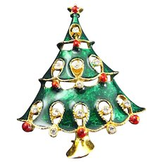 Vintage Emerald Green Metallic Christmas Tree Pin with Clear Rhinestones and red balls