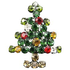 Vintage Made in Austria Rhinestone Christmas Tree Pin