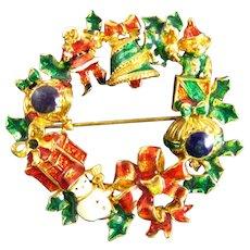 Fabulous Vintage Christopher Radko Enameled Christmas Wreath Santa Bells Presents