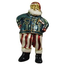 Cool Santa! Christopher Radko Retired Santa Clause Enameled Pin Wearing a Jean Jacket