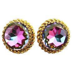 Famous Elsa Schiaparelli Largest Headlight Tourmaline Vitrail Watermelon Earrings Gold Tone