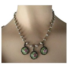 Vintage Anne Koplik Victorian Revival Style Freshwater Cultured Silver Pearl Three Charm Necklace