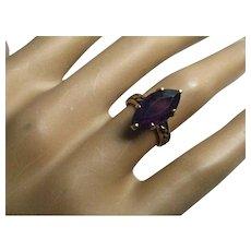 Victorian 3 Carat Marquise Cut Amethyst 14K Gold Ring