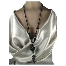 Stunning Black Crystal Bead Necklace with Large Black Round Focal Point and Dangling Beads