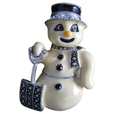 Famous Eisenberg Snowman Enameled Pin with Black top Hat Rhinestones Marcasite Shovel