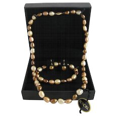 14K Gold Honora Freshwater Cultured Pearl Necklace Bracelet and Earrings Set in Original Box