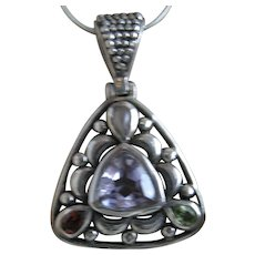 Vintage Sterling Silver Pendant with amythest colored glass on Sterling silver chain