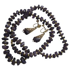 Vintage Polished Amethyst Bead Necklace and Matching Gold Base Metal Filigree Drop Dangle Earrings