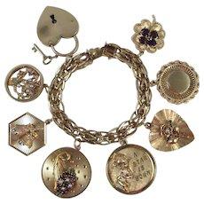 111.5 GRAMS 14K Gold Charm Bracelet Eight Large Heavy Rare Charms
