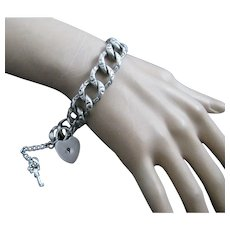 Vintage Sterling Silver Repousse Large Link Charm Bracelet with Heart Padlock Lock with Key