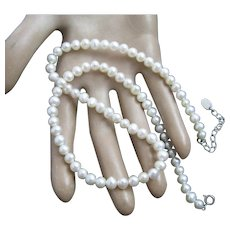 Stauer Freshwater Cultured Pearl Sterling Silver Necklace