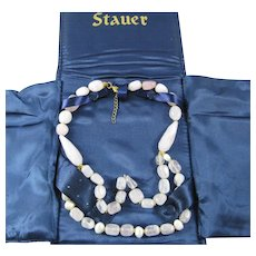 Stauer Retired Rose Quartz Freshwater Cultured Pearl Two Strand Festoon Necklace