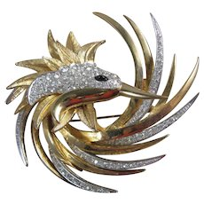 Marcel Boucher Stylized Fancy Large Clear Pave Set Rhinestone Bird Brooch
