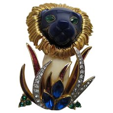 Hattie Carnegie Lion in the Grass Jungles Series Brooch Pin