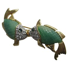 Kenneth Jay Lane Faux Jade Kissing Koi Fish Brooch