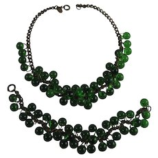 Miriam Haskell Signed Emerald Green Glass Bead Necklace and Bracelet Set