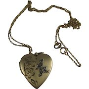 Vintage 14K Gold Filled I Love You Heart Locket on 14K GF Chain