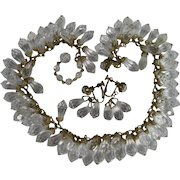 Miriam Haskell Double Row Clear Crystal Drops Necklace and Earrings Demi Set