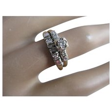 14K Gold Art Deco Diamond Wedding Ring Set