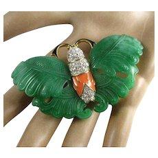 Kenneth Jay Lane Faux Jade Green Resin Coral Enamel Clear Rhinestone Butterfly Brooch
