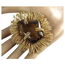 Spectacular High End Designer Large Faux Topaz Golden Fringe Brooch